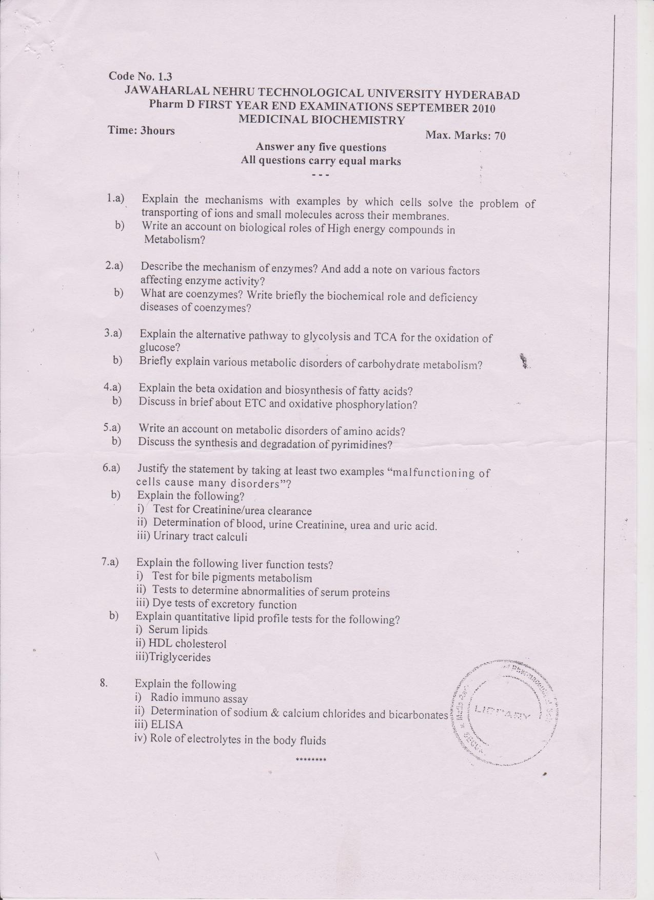 Question Papers || Pulla Reddy Institute of Pharmacy