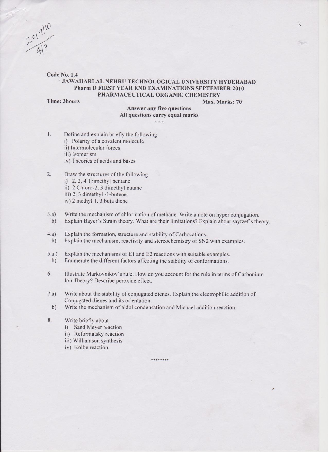 Question Papers    Pulla Reddy Institute of Pharmacy
